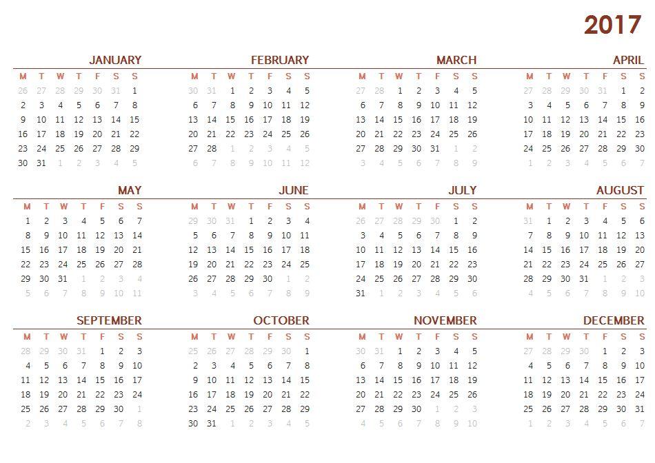 Free 2017 Printable Calendar One Page Sheet