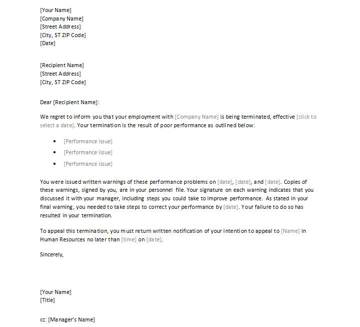 Sample Termination Letter To Employee For Poor Performance