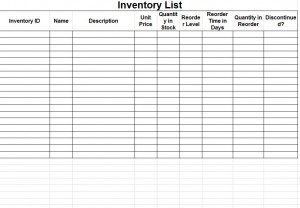 Free Inventory Sheet Template