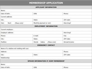 Free Membership Application Form