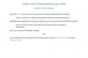 Free Press Release Template