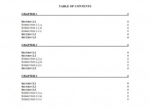 Table of Contents Template Word Free