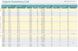 Bar Inventory Control Sheets