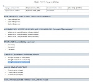 Performance Evaluation Template Free