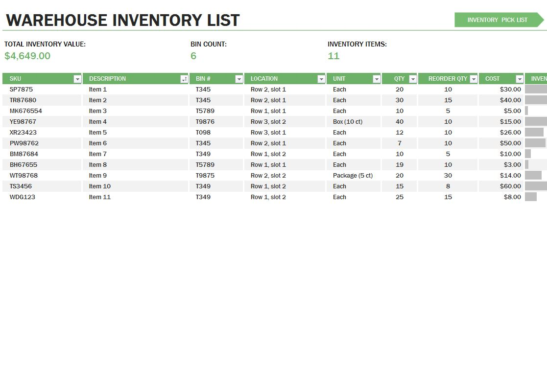 Warehouse Inventory Control Template