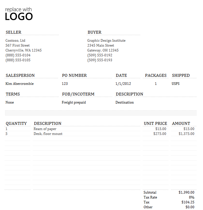 Commercial Invoice Statement Template