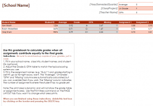 Gradebook Averages Calculator