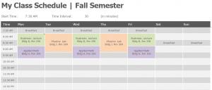 Semester Class Schedule