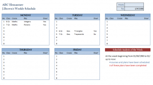 Teaching Weekly Course Plan