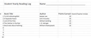 Student Yearly Reading Log Template