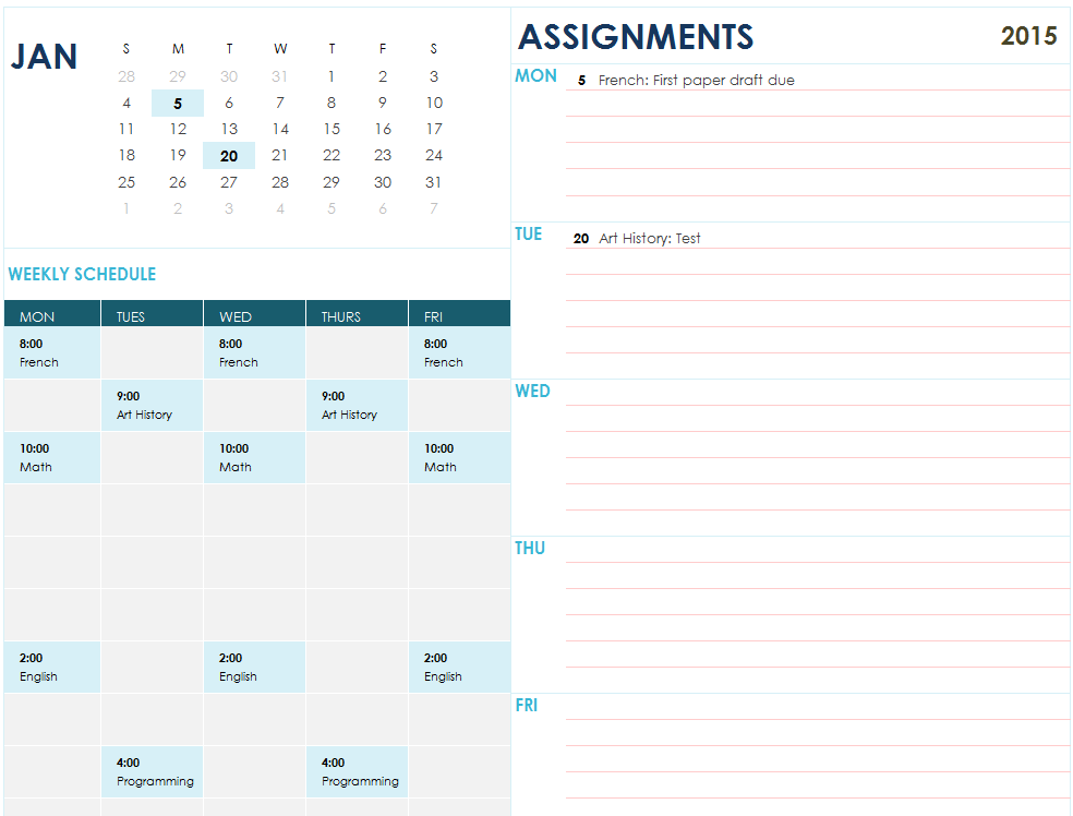 Assignment Planner My Excel Templates