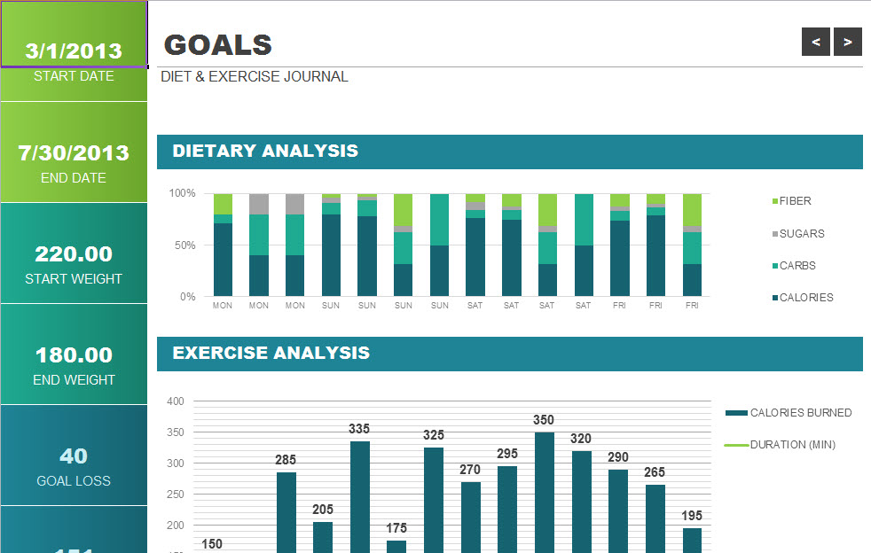 Calories and Exercise Chart Template - My Excel Templates