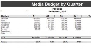 Quarterly Media Budget Template My Excel Templates