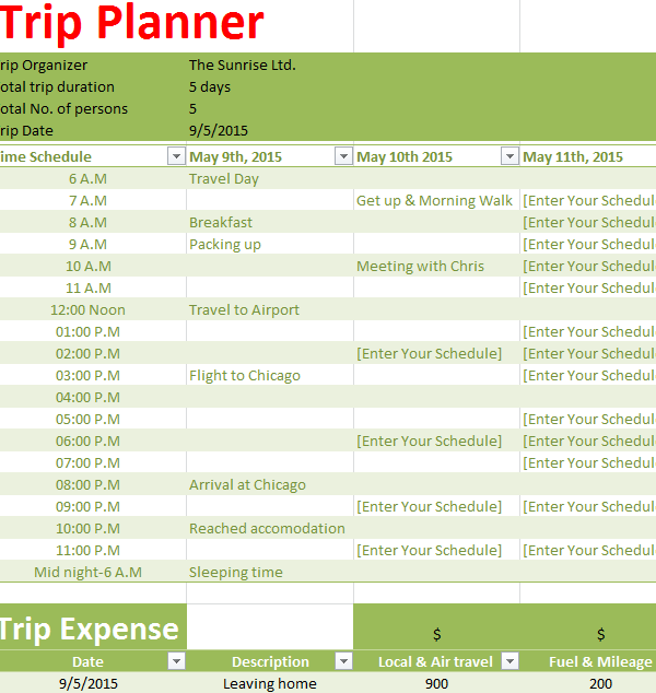Holiday Trip Planner - My Excel Templates