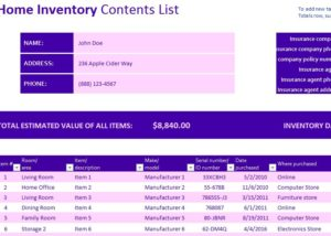 Home Inventory Template My Excel Templates