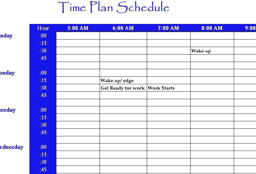 Time Plan Schedule - My Excel Templates