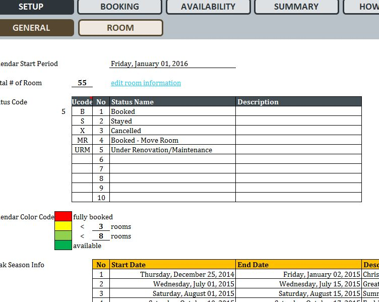 Hotel Reservation System - My Excel Templates