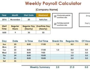 Payroll Calculator Template My Excel Templates