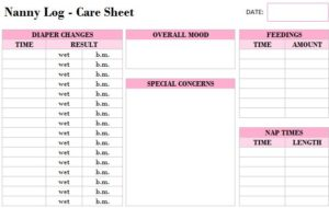 Printable Nanny Log Template