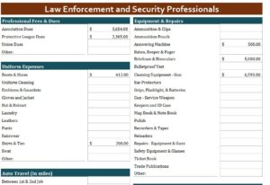 Law Enforcement and Security Professionals Expense Template