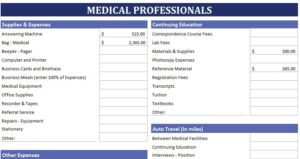 Medical Professionals Expense Calculator