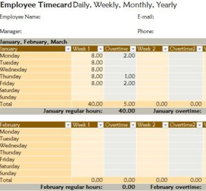 Yearly Employee Timecard